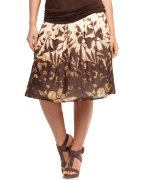Jones New York Signature Plus Size Skirt, Pleated Border Print