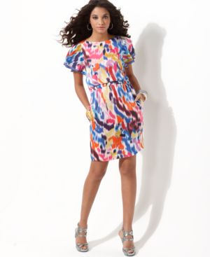 Jessica Simpson Dress, Flutter Sleeve Abstract Print