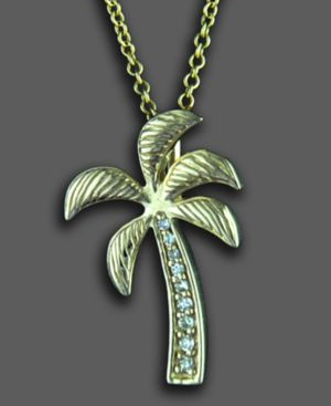 14k Gold Pendant, Diamond Accent Palm Tree