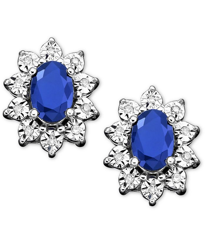 Macy's - 10k White Gold Earrings, Sapphire (1-1/3 ct. t.w.) and Diamond Accent Stud Earrings