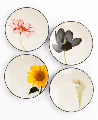 Noritake Dinnerware, Set of 4 Colorwave Graphite Floral Appetizer Plates