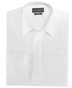 Lauren by Ralph Lauren Mens Dress Shirt, Slim Fit White Twill