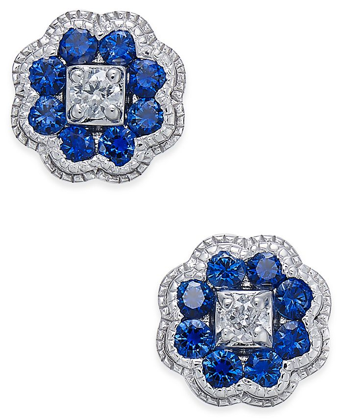 Macy's - Sapphire (5/8 ct. t.w.) and Diamond (1/10 ct. t.w.) Cluster Stud Earrings in 14k White Gold