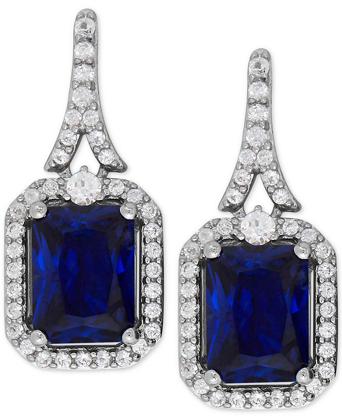 Macy's - Lab-Created Blue Sapphire (4 ct. t.w.) and White Sapphire (1/2 ct. t.w.) Drop Earrings in Sterling Silver