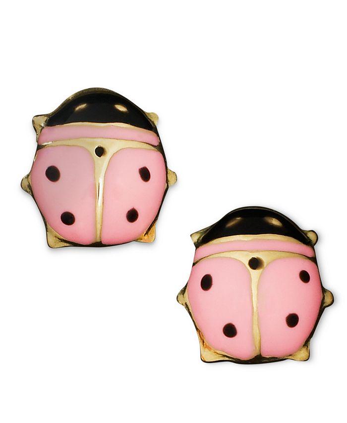 Macy's - Children's 14k Gold Earrings, Pink Ladybug Studs