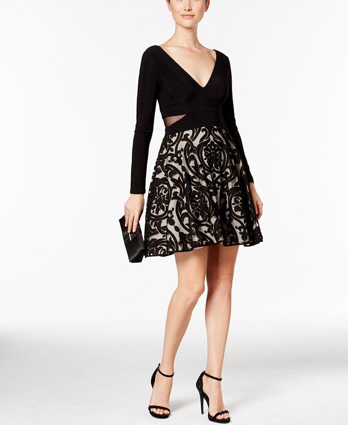 XSCAPE - Double-V Damask Fit & Flare Dress