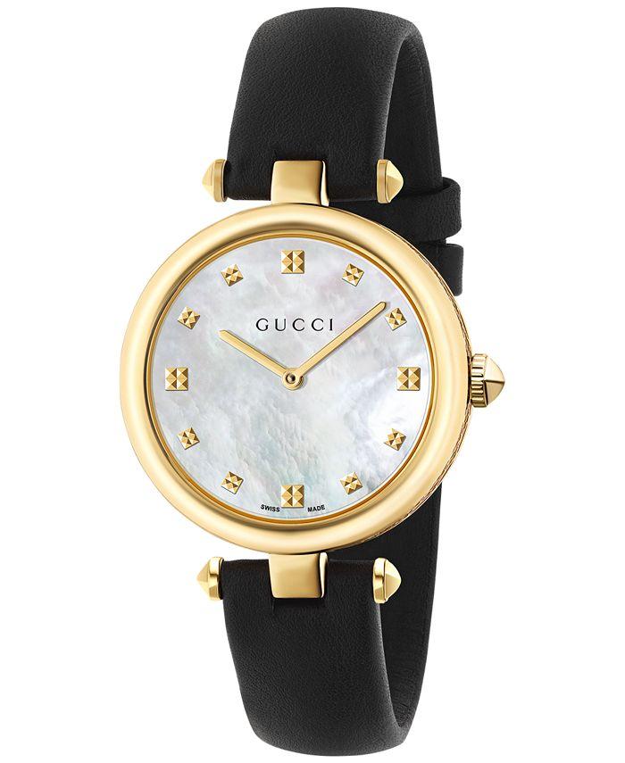 Gucci - Women's Swiss Diamantissima Black Leather Strap Watch 32mm YA141404