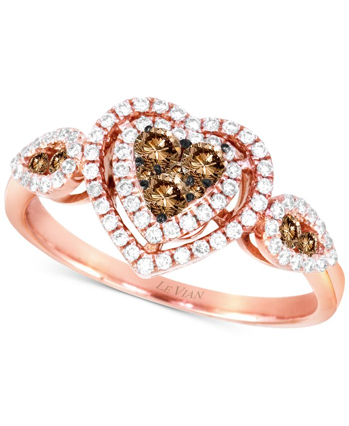 Le Vian - Diamond Hearts Ring (1/2 ct. t.w.) in 14k Rose Gold