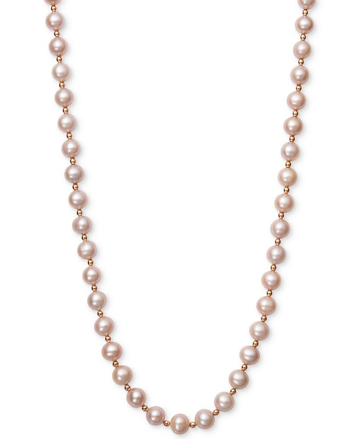 Belle de Mer - Pink Cultured Freshwater Pearl (7-1/2mm) and Gold Bead Collar Necklace in 14k Rose Gold