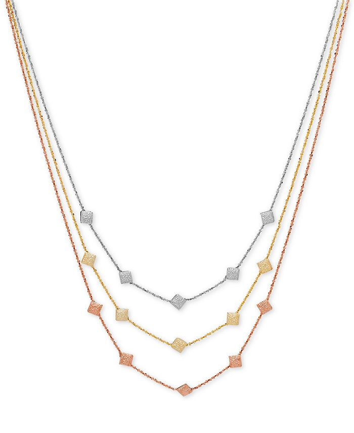 Italian Gold - Tri-Gold Decorative Disc Fancy Link Layer Necklace