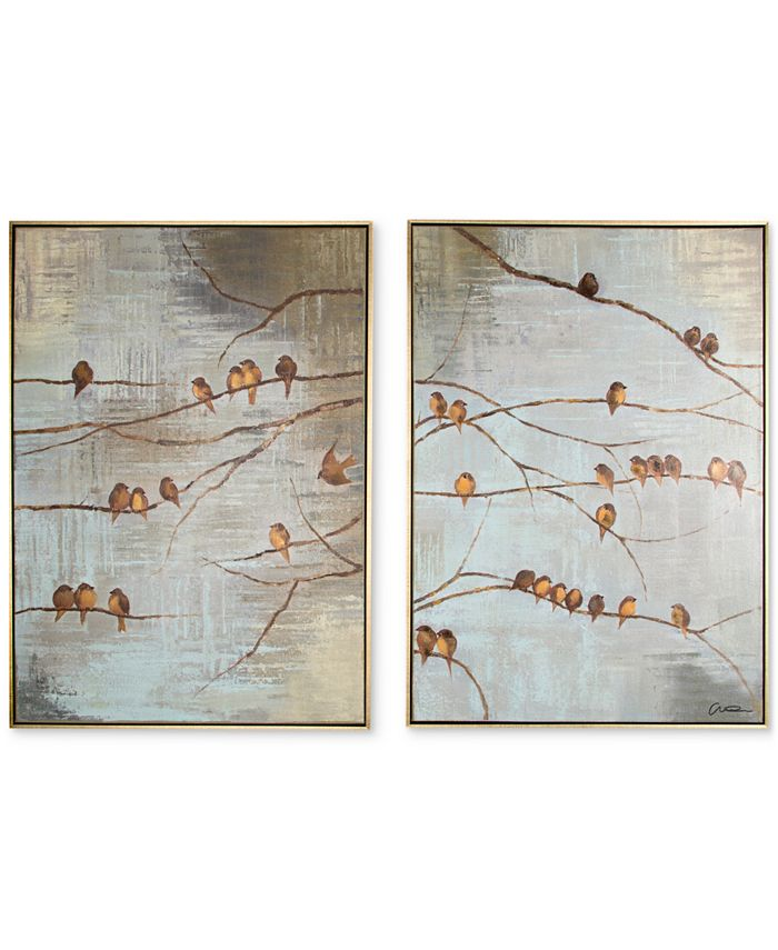 Graham & Brown - Flock of Birds 2-Pc. Handpainted Framed Canvas Wall Art Set