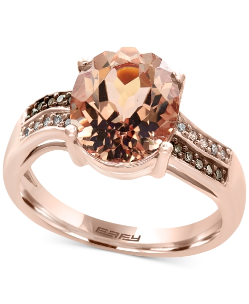 Effy Final Call Morganite (3-1/10 ct. t.w.) and Diamond Accent Ring in 14k Rose Gold