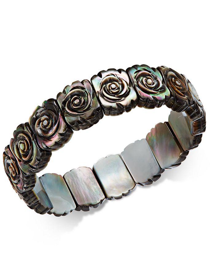 Macy's - Black Mother-of-Pearl Rose Carved Stretch Bracelet