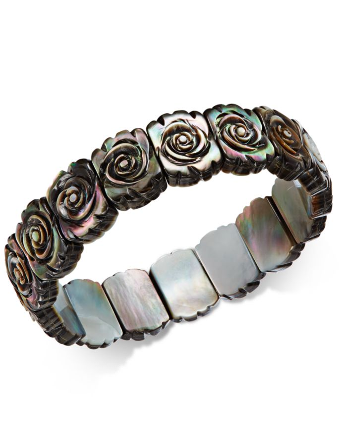 Macy's Black Mother-of-Pearl Rose Carved Stretch Bracelet & Reviews - Bracelets - Jewelry & Watches - Macy's