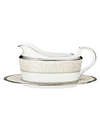 "Noritake ""Silver Palace"" Gravy Boat with Stand"