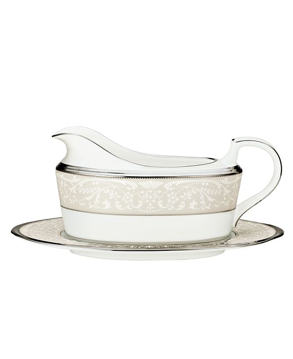 """Noritake """"Silver Palace"""" Gravy Boat with Stand"""