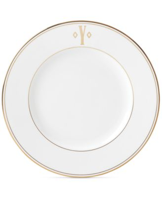 Federal Gold Monogram Dinner Plate, Block Letters