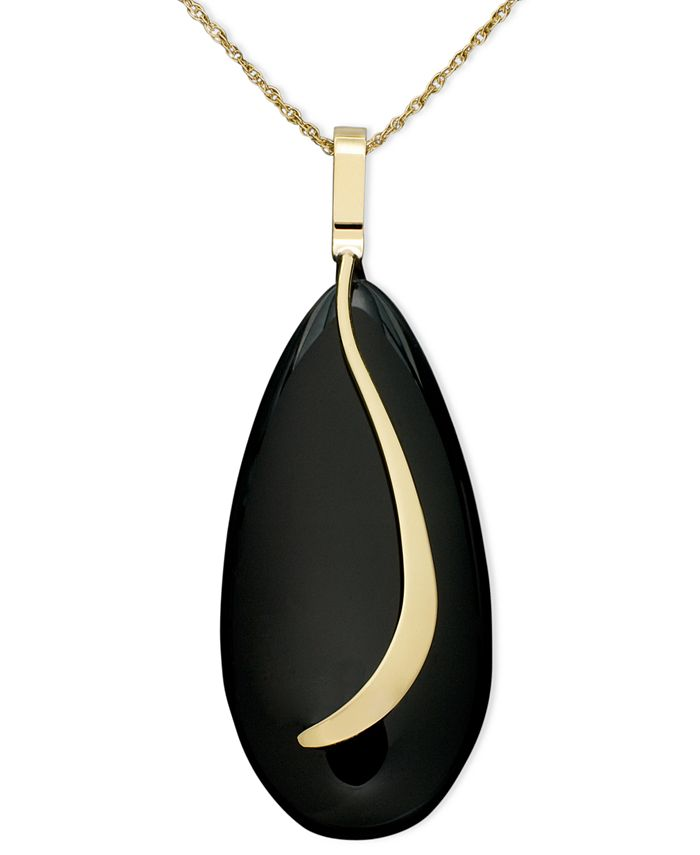 Macy's - 14k Gold Necklace, Onyx Almond Sweep Pendant