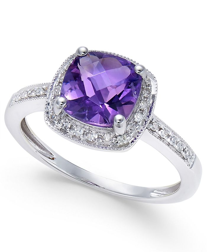 Macy's - Amethyst (1-1/5 ct. t.w.) and Diamond (1/10 ct. t.w.) Ring in 14k White Gold
