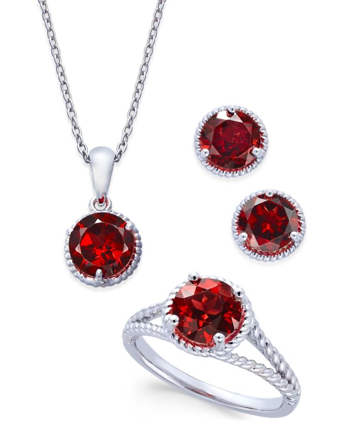 Macy's Rhodolite Garnet Rope-Style Pendant Necklace, Stud Earrings and Ring Set (5 ct. t.w.) in Sterling Silver & Reviews - Jewelry & Watches - Macy's