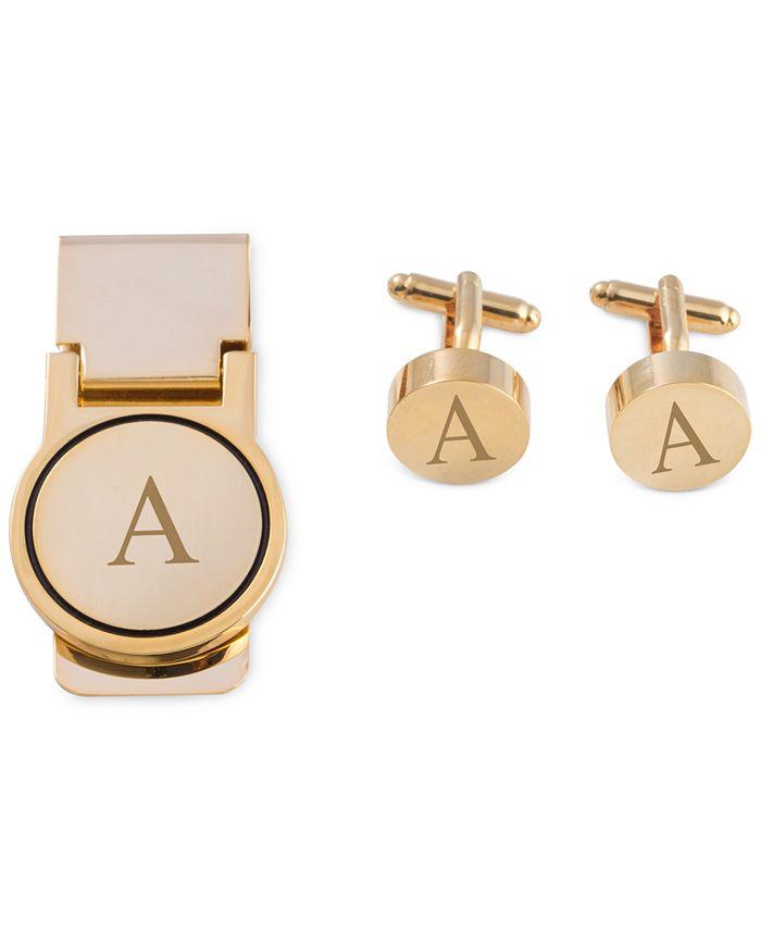 Bey-Berk - Men's Gold-Tone Monogrammed Cuff Links & Money Clip Set