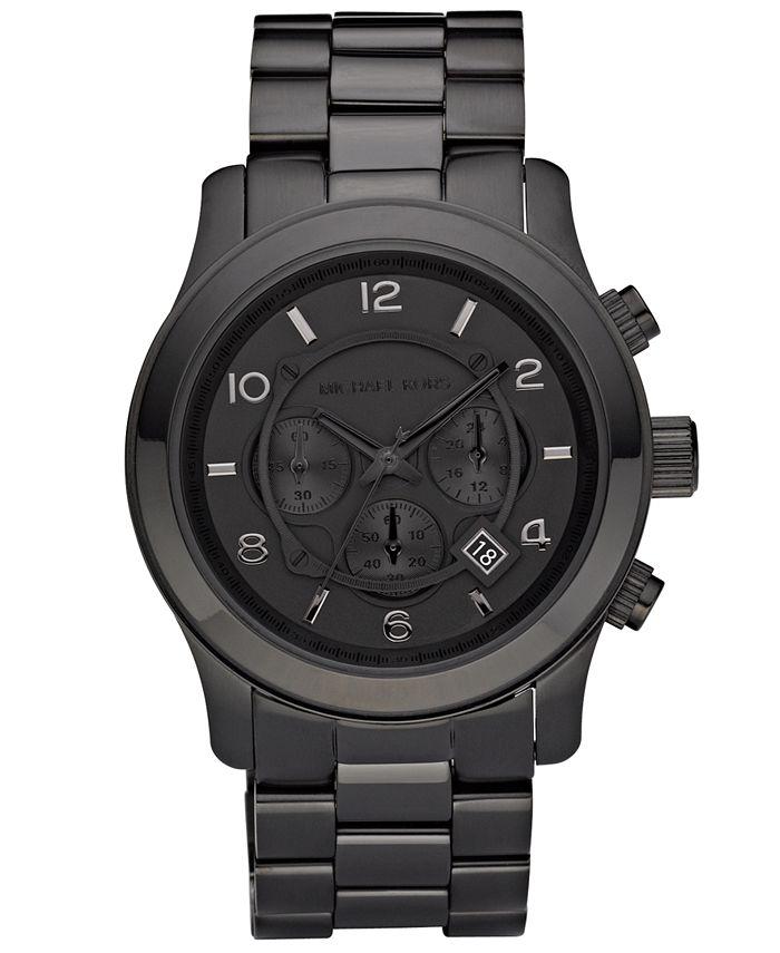 Michael Kors - Men's Runway Black Ion Plated Stainless Steel Bracelet Watch 45mm MK8157