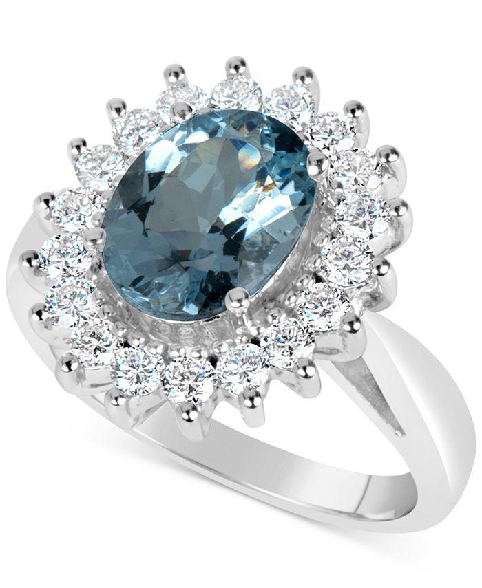 Macy's - Aquamarine (2-1/4 ct. t.w.) and Diamond (3/4 ct. t.w.) Ring in 14k White Gold