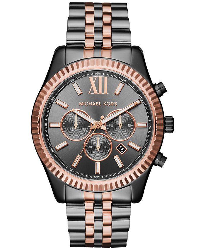 Michael Kors - Men's Chronograph Lexington Two-Tone Stainless Steel Bracelet Watch 44mm MK8561