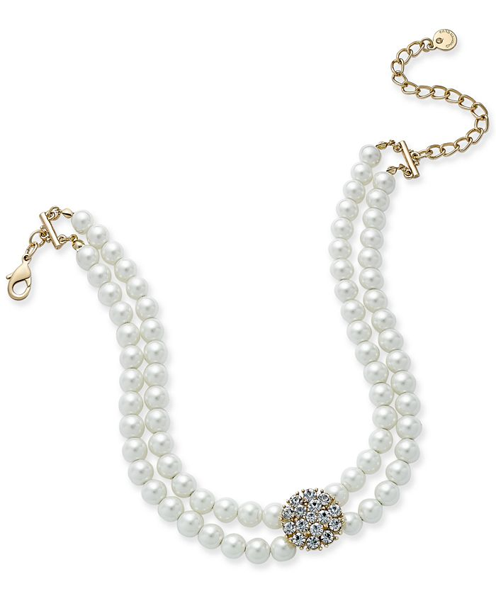 Charter Club - Gold-Tone Imitation Pearl and Pavé Double Strand Choker Necklace