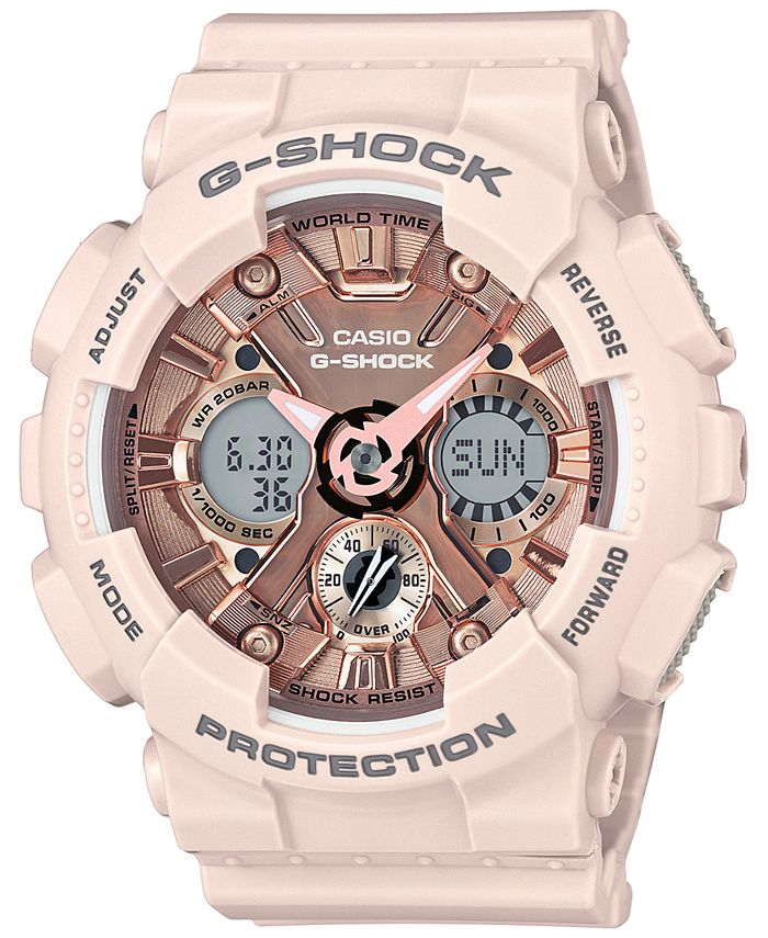 G-Shock - Women's Analog-Digital Blush S Peach Resin Strap Watch 46mm GMAS120MF-4A