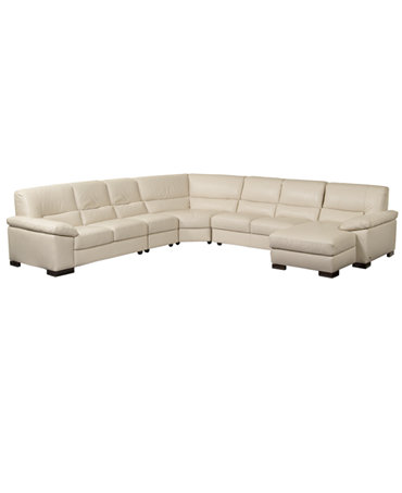 Spencer leather 5 piece sectional sofa one arm loveseat for Flexsteel 4 piece sectional sofa with right arm facing chaise in brown
