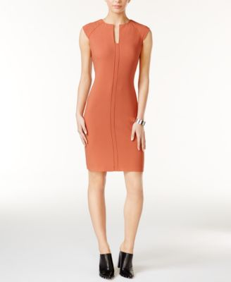 Bar III Split-Neck Bodycon Dress, Only at Macys