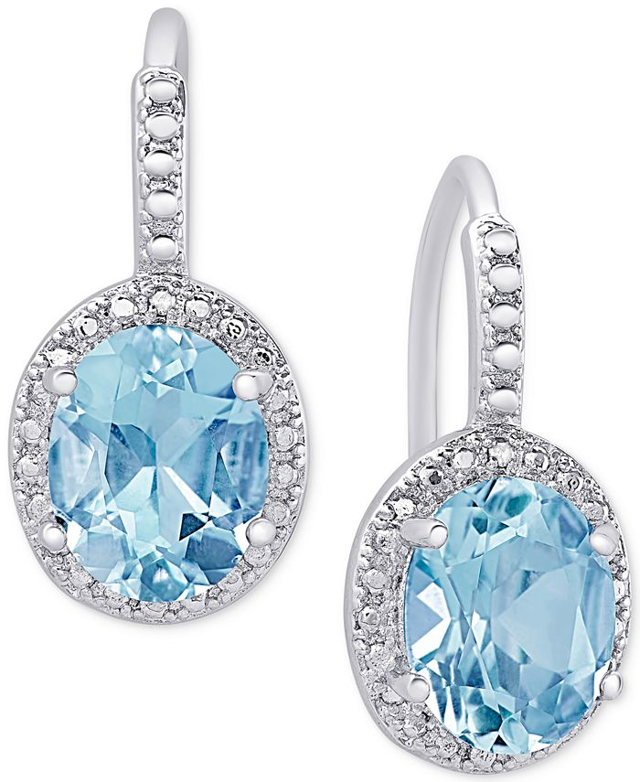 Macy's - Blue Topaz (6-3/8 ct. t.w.) and Diamond Accent Drop Earrings in Sterling Silver