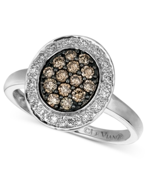 Le Vian Diamond Ring, 14k White Gold Chocolate and White Diamond Oval (3/8 ct. t.w.)