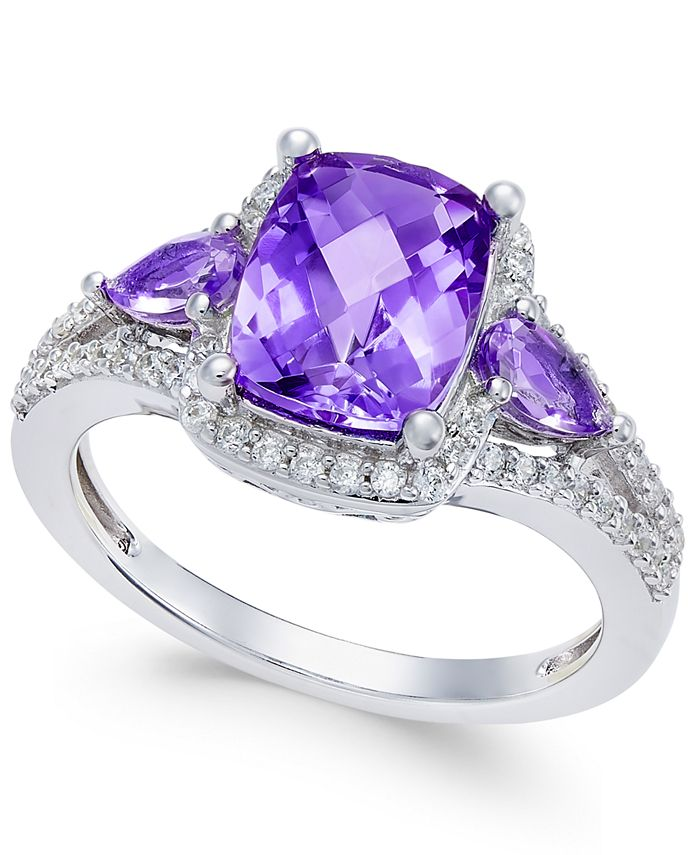 Macy's - Amethyst (1-3/4 ct. t.w.) and White Topaz (1/4 ct. t.w.) Ring in Sterling Silver
