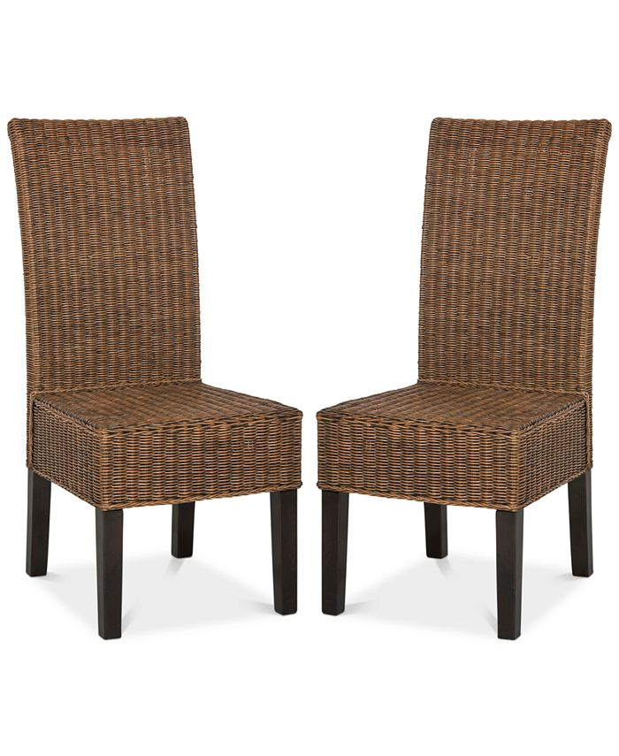 Safavieh Shanley Set Of 2 Wicker Dining Chairs Reviews Furniture Macy S