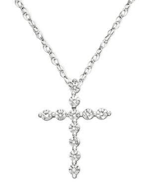 Diamond Necklace, 14k White Gold Diamond Certified Near Colorless Cross Pendant (1/4 ct. t.w.)