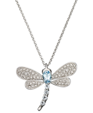 Victoria Townsend Sterling Silver Necklace, Blue Topaz (9/10 ct. t.w.) and Diamond Accent Dragonfly Pendant