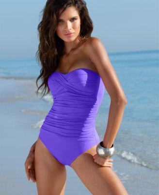 La Blanca Swimsuit, Bandeau One Piece Bathing Suit with Tummy Control