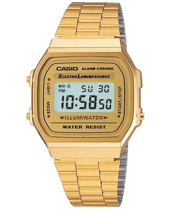 Casio - Men's Digital Vintage Gold-Tone Stainless Steel Bracelet Watch 38mm A168WG-9MV