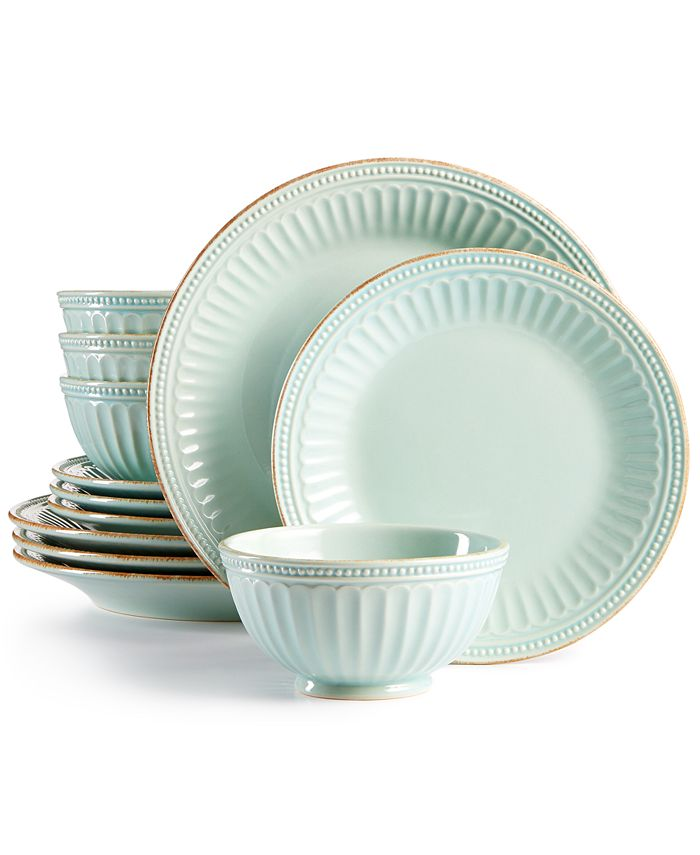 Lenox - French Perle Groove Ice Blue 12-Piece Dinnerware Set