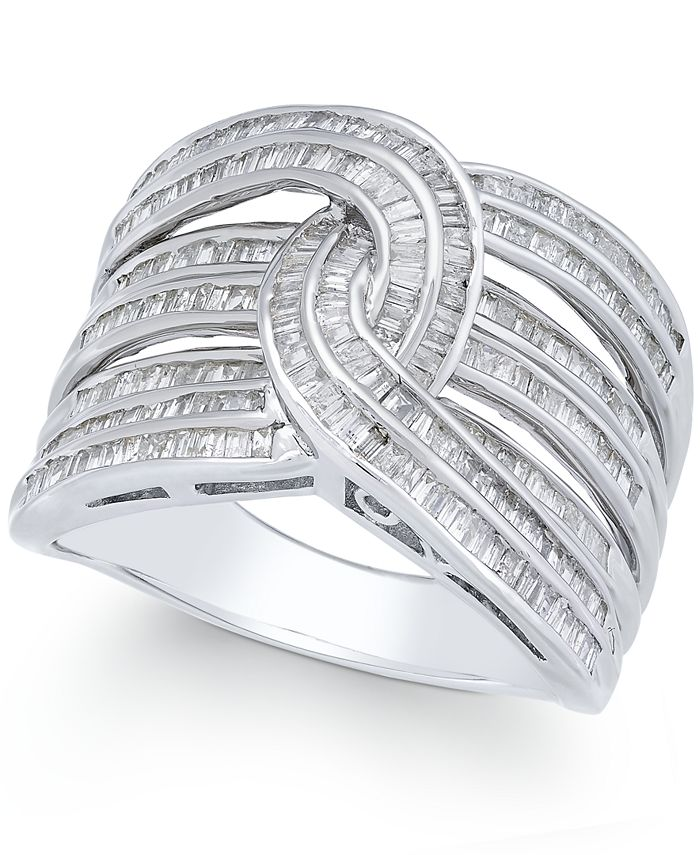 Macy's - Diamond Baguette Interwoven Statement Ring (1 ct. t.w.) in Sterling Silver, or Gold Plated Silver