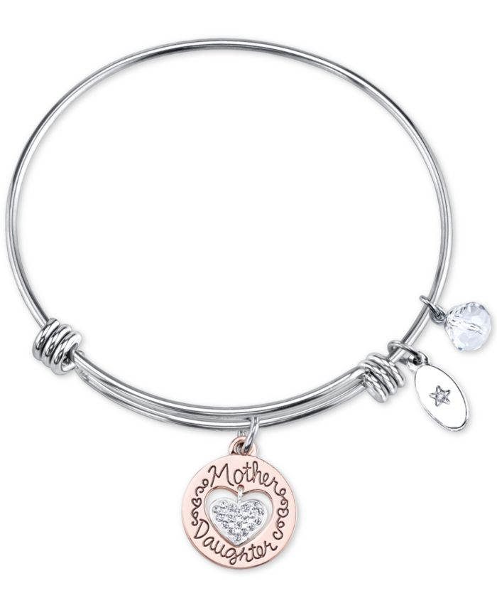 Unwritten Two-Tone Mother & Daughter Heart Charm Bangle Bracelet in Rose Gold-Tone & Stainless Steel with Silver Plated Charms & Reviews - Bracelets - Jewelry & Watches - Macy's