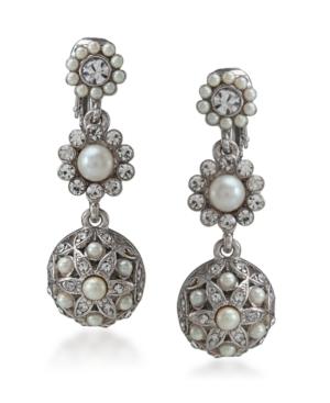 Carolee Earrings, Glass Pearl Crystal Triple Drop Clip On Earrings