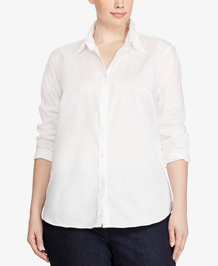 Lauren Ralph Lauren - Plus Size Wrinkle-Free Bengal-Striped Dress Shirt