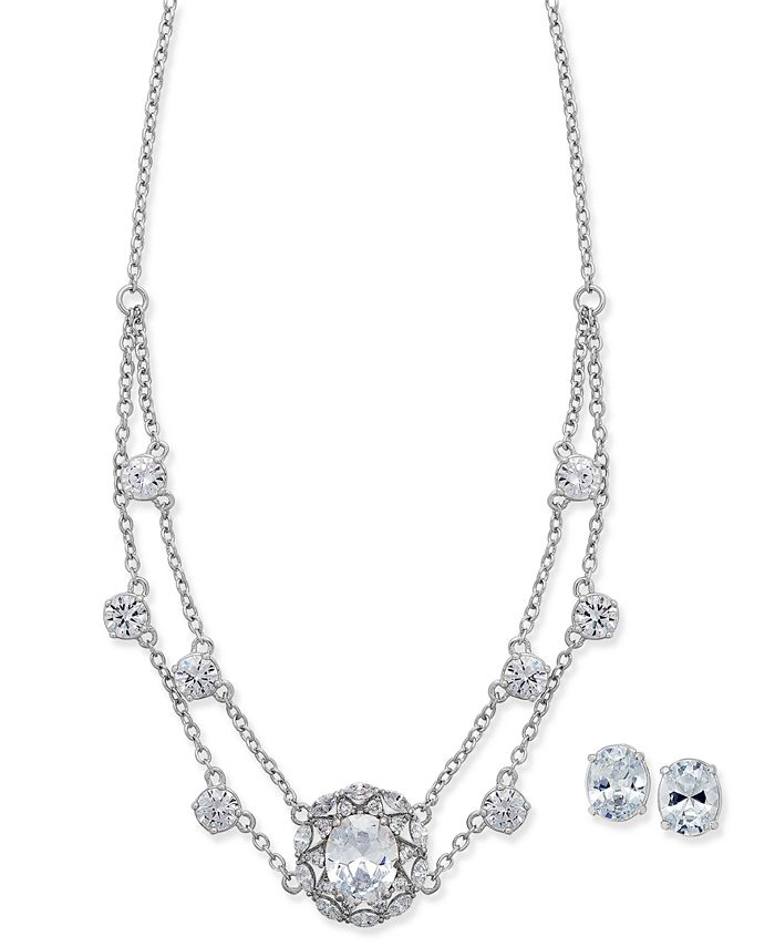 Nina - Silver-Tone Cubic Zirconia Collar Necklace and Stud Earrings Set