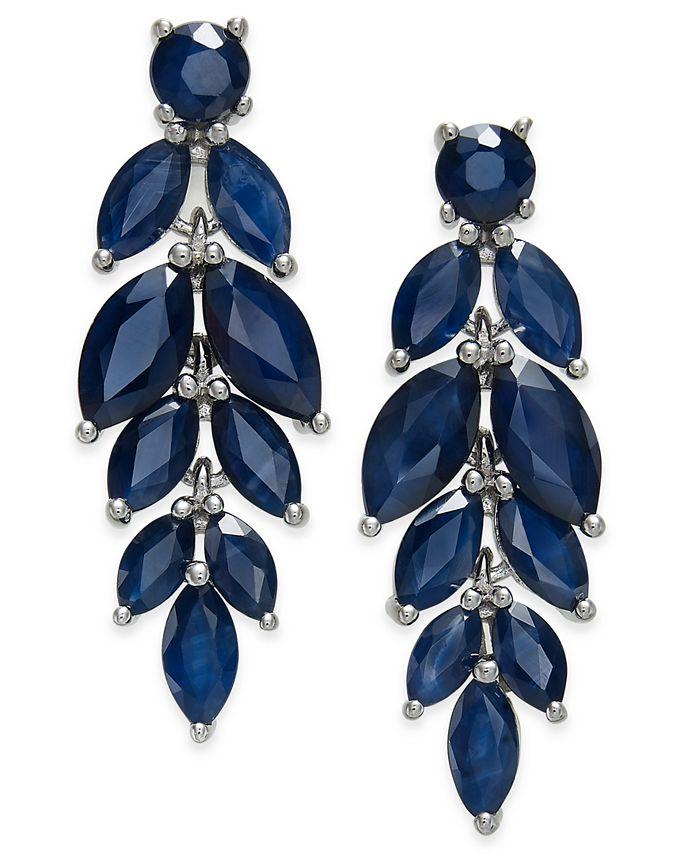 Macy's - Blue Sapphire (6-1/2 ct. t.w.) & White Sapphire (1/2 ct. t.w.) Chandelier Earrings in Sterling Silver
