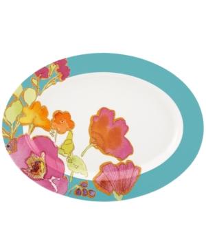 Lenox Dinnerware, Floral Fusion Aqua Oval Platter