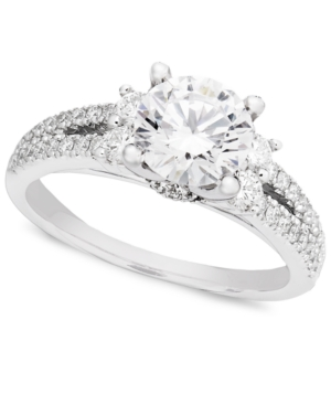 Diamond Ring, 18k White Gold Solitaire Diamond (1-1/4 ct. t.w.) Engagement Ring with Side Diamond Design (1/2 ct. t.w.)