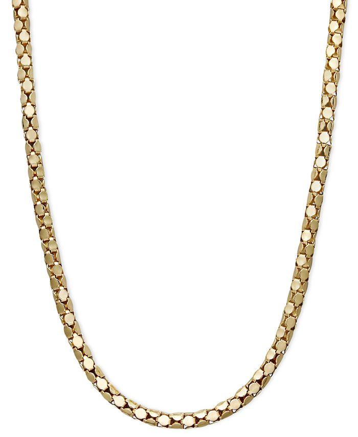 "Macy's - 14k Gold Necklace, 20"" Diamond Cut Popcorn Chain"